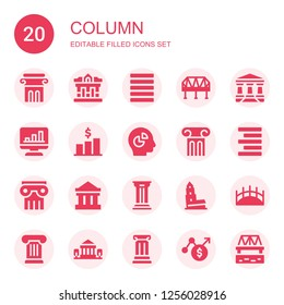 column icon set. Collection of 20 filled column icons included Column, Museum, Justify, Bridge, Parthenon, Chart, Align right, Nevyansk