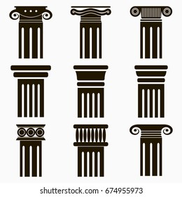Column icons. Set of ancient architecture pillars. Vector illustration.
