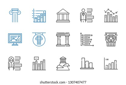 column icons set. Collection of column with bar chart, olympus, museum, line chart. Editable and scalable column icons.