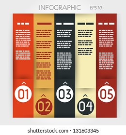 column infographic five options in rings zig-zag. infographic concept.