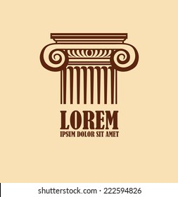 Column logo design template. Corporate icon such as logotype. Graphic outline image of column capitals classical Greek or Roman style. Vector