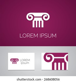 column logo template icon design elements with business card