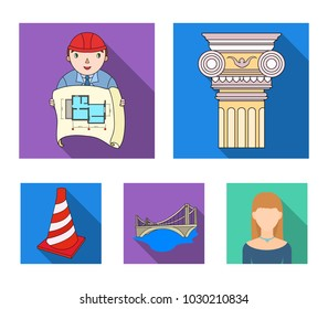 Column, master with drawing, bridge, index cone. Architecture set collection icons in flat style vector symbol stock illustration web.