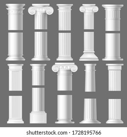 Column pillar realistic mockups of antique Roman and Greek architecture. 3d vector white marble stone Doric and Ionic columns with vertical fluted shafts, bases and ornate capitals with volutes