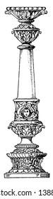 Column Profiled Shaft, round, plinth, bear, vintage line drawing or engraving illustration.