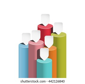 Columnar vector business chart. Growth indicators schedule template. Color data columns