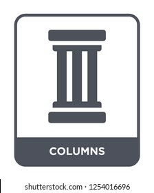 columns icon vector on white background, columns trendy filled icons from History collection, columns simple element illustration