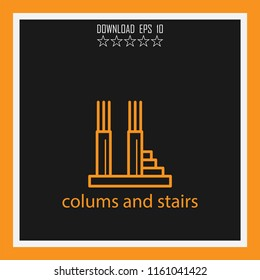 colums and stairs vector icon