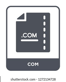 com icon vector on white background, com trendy filled icons from File type collection, com simple element illustration