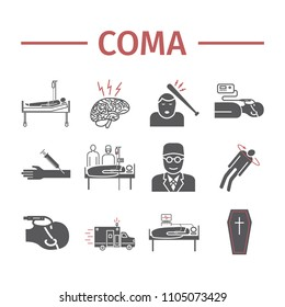 Coma icons set. Hospital bed. Infographic signs. Vector