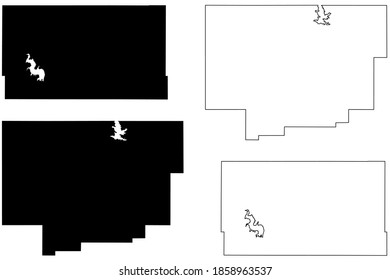 Comanche and Custer County, Oklahoma State (U.S. county, United States of America, USA, U.S., US) map vector illustration, scribble sketch map