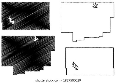 Comanche and Custer County, Oklahoma State (U.S. county, United States of America) map vector illustration, scribble sketch map