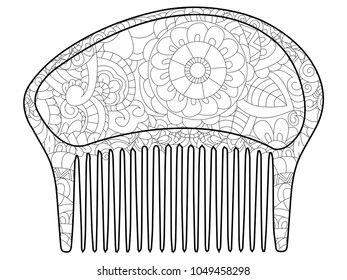 Comb Hair Coloring Book Adult Antistress Stock Illustration