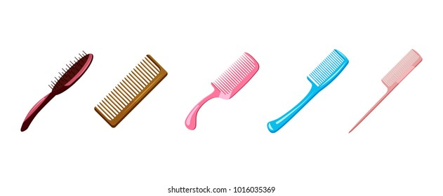 Comb icon set. Cartoon set of comb vector icons for web design isolated on white background