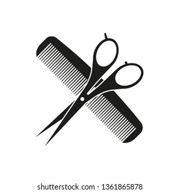 Comb and scissors icon. Vector.