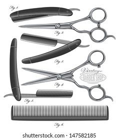 Comb, Scissors, Razors with open and closed blades in vintage engraved style.  Vector illustration, Isolated, grouped, transparent background.All elements are separated.