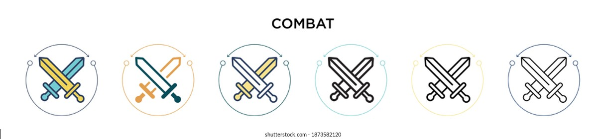 Combat icon in filled, thin line, outline and stroke style. Vector illustration of two colored and black combat vector icons designs can be used for mobile, ui, web