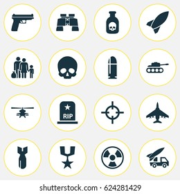 Combat Icons Set. Collection Of Aircraft, Dangerous, Rip And Other Elements. Also Includes Symbols Such As Fire, Skull, Cranium.