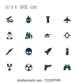 Combat Icons Set. Collection Of Dangerous, Ordnance, Missile And Other Elements. Also Includes Symbols Such As Cranium, Binoculars, Medal.