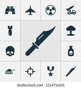 Combat icons set with poison, bomb, artillery and other atom elements. Isolated vector illustration combat icons.