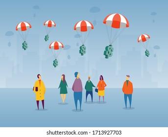 Pour lutter contre une récession imminente déclenchée par COVID-19, le gouvernement des États-Unis distribue de l'argent de relance par le gouvernement qui flotte dans une communauté. des chèques aux citoyens.