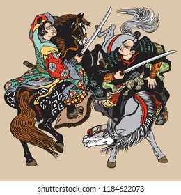 Combat of Japanese samurai warriors . Two horsemen soldiers sitting on pony horses and fighting with swords . Vector illustration