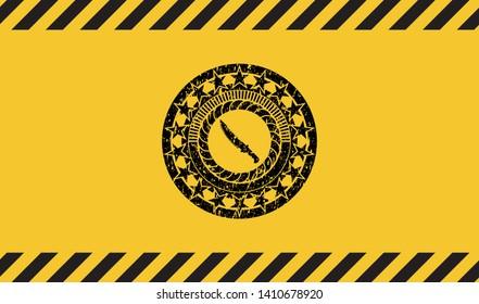 combat knife icon inside warning sign, black grunge emblem. Vector Illustration. Detailed.