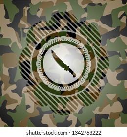 combat knife icon on camo texture