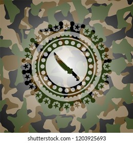 combat knife icon on camouflage texture