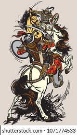 Combat of Mongolian warriors.  Horsemen soldiers sitting on pony horses and fighting with swords. Battle between Mongols clans and tribes .Time of Genghis Khan . Vector illustration