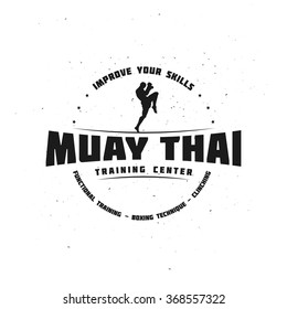 Combat Sport and Fitness Emblem with a Fighter. Muay Thai Training Center. Vector Illustration for your gym, cove, t-shirt, poster, art and business work.