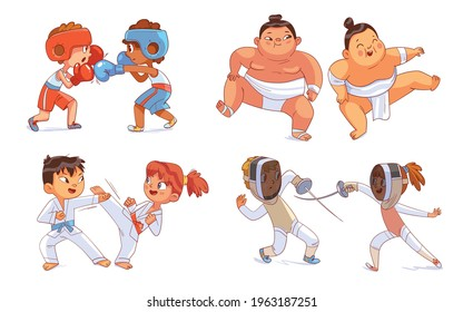 Combat sport. Set. Boxing, Sumo, Fencing, Karate. Colorful cartoon characters. Funny vector illustration. Isolated on white background