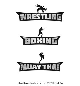 Combat Sports Monochrome Team Logos. Wrestling, Boxing and Muay Thai Words. Templates for your gym, apparel, stickers, t-shirt, emblem, combat club, signs, prints or web works