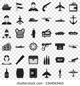 Combat vehicle icons set. Simple style of 36 combat vehicle vector icons for web for any design