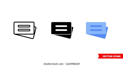 Combi ticket icon of 3 types: color, black and white, outline. Isolated vector sign symbol.