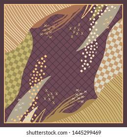 Combination abstract silk scarf pattern. Hijab motif