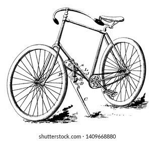 Combination Bicycle Lock and Stand which is the bicycle features a lock formed out of an engaging part, vintage line drawing or engraving illustration.