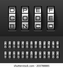 Combination, code lock alphabet. Vector.