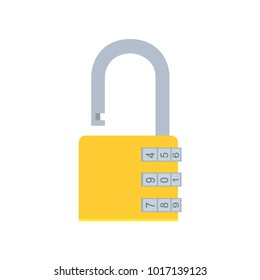 Combination code yellow padlock vector flat illustration. 2d binary privacy secret safety. Bank security number password entry. Login various data CPU encrypted technology. Locker vault system open.