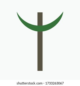 Combination of Crescent with Cross religious symbols. Harmony of two monotheistic religions concept symbolizes equality, hope, religious freedom and acceptance of the other. Flat design icon.