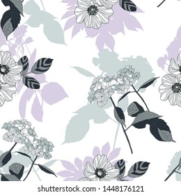 Combination of decorative stripy wild rose flowers and hydrangea flowers with stems in grey shades. White background with flowers silhouette in grey and pale purple colour.