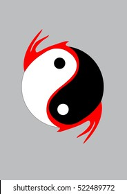 Combination of dragon wings and Yin Yang symbol. Vector for logo and icon.