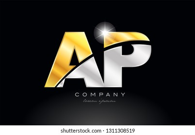 combination letter ap a p alphabet logo icon design with gold silver grey metal on black background suitable for a company or business