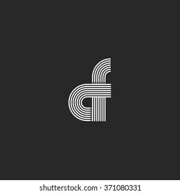 Combination letter CF logo monogram, pair C F offset line geometric shape symbol, creative idea graphic emblem