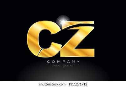 combination letter cz c z gold golden alphabet logo icon design with metal look on black background suitable for a company or business