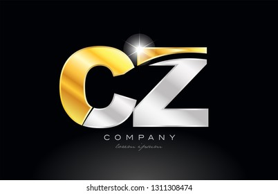 combination letter cz c z alphabet logo icon design with gold silver grey metal on black background suitable for a company or business