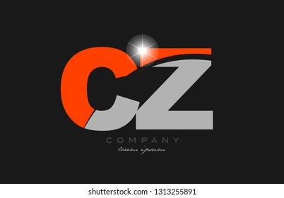 combination letter cz c z in grey orange color alphabet logo icon design suitable for a company or business