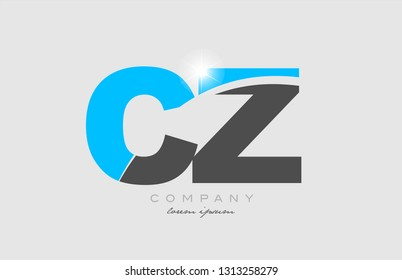 combination letter cz c z in grey blue color alphabet logo icon design suitable for a company or business