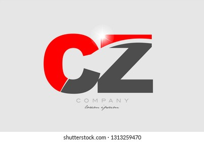 combination letter cz c z in grey red color alphabet logo icon design suitable for a company or business