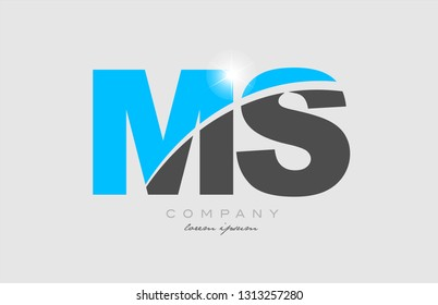 combination letter ms m s in grey blue color alphabet logo icon design suitable for a company or business